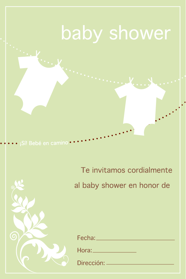 Plantilla imprimible invitación baby shower