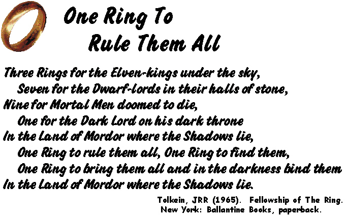 Poem One All Ring Rule Them Lord English Rings