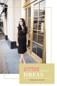 This classic little black dress is simple, casual for date nights. As well as formal for weddings. Get this timeless outfit.