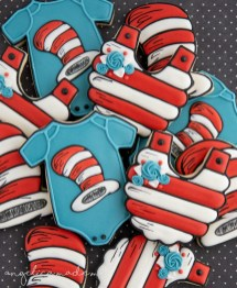 Dr. Seuss Cat in the Hat Baby Shower Cookies