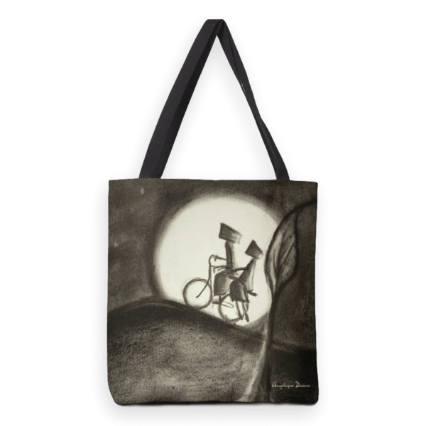 Moonlight; heavy duty tote bag with mixed media illustration print.