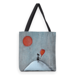 Reflection; heavy duty tote bag with mixed media illustration print.