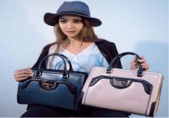 model with handbags