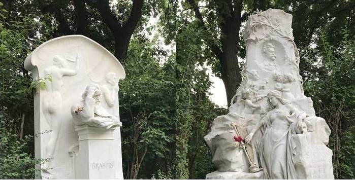 Ehrengräber Johannes Brahms und Johann Strauss Sohn am Zentralfriedhof (Gruppe 32 A)
