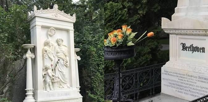 Ehrengräber Schubert und Beethoven am Zentralfriedhof (Gruppe 32 A)