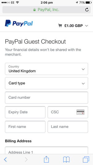 If you opt to pay via debit or credit card you will need to enter your details on the next page and then click Pay.