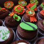 horse racing themed cupcakes, chocolate cupcakes, chocolate butter icing, custom made sugar paste decorations