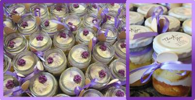 cupcake-in-a-jar, lilac roses, bonbonnieres, wedding favours, vanilla cupcakes