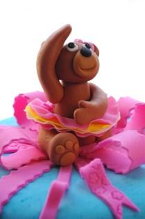 chocolate cake, chocolate ganache, sugarpaste/ fondant ballerina bear,
