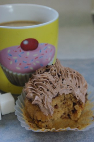 cappuccino cupcakes with cappuccino butter icing