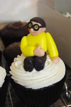chocolate cupcakes, vanilla butter icing, sugarpaste figure