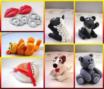 custom made, sugarpaste, fondant, sheep, dog, teddy, lips, handcuffs