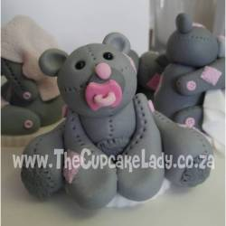 sugar paste, fondant, cake topper, hand made, bear, pink and grey, binky, pacifier