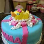 Cake artist, sugar artist, Vorna Valley, Midrand. Custom made, hand made, sugar paste bath duck in pearl bubbles