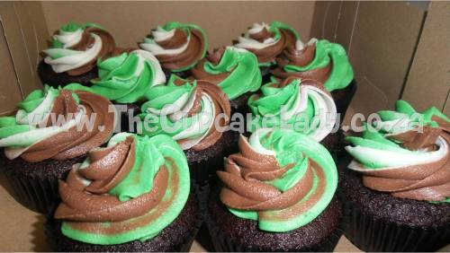 chocolate cupcakes, butter icing, three colour swirl