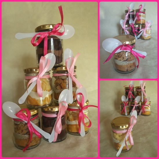 cupcake-in-a-jar, pink ribbons, white spoons, cappuccino cupcakes, cappuccino icing, vanilla, vanilla icing, chocolate cupcakes, chocolate icing