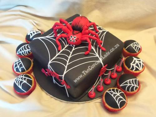 Vanilla cake and cupcakes, decorated with sugar paste spiderwebs and a hand made spider for a little boy's Spiderman-themed party!
