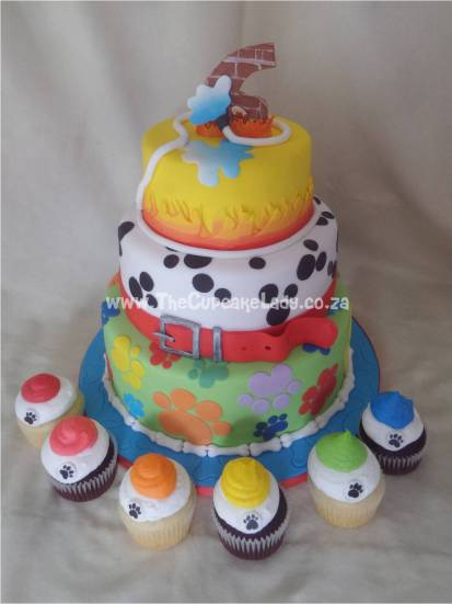 Cake artist Midrand. Cakes, cupcakes, sugar art. Custom made. Hand made. Three tier cake, dog themed.