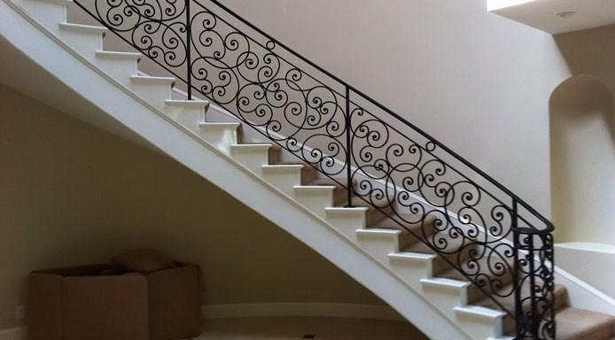 Custom Wrought Iron Stair Railings La Habra Ca Decorative   Custom Iron Stair Railing   Residential   French   Metal   Banister   Iron Work