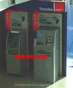 If you use this ATM you will pay a terrible exchange rate or high fee on top of what your bank charges you. Beware!