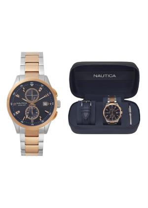 NAUTICA Gents Wrist Watch Model LISBONA Special Pack + Extra Strap NAPLSN003
