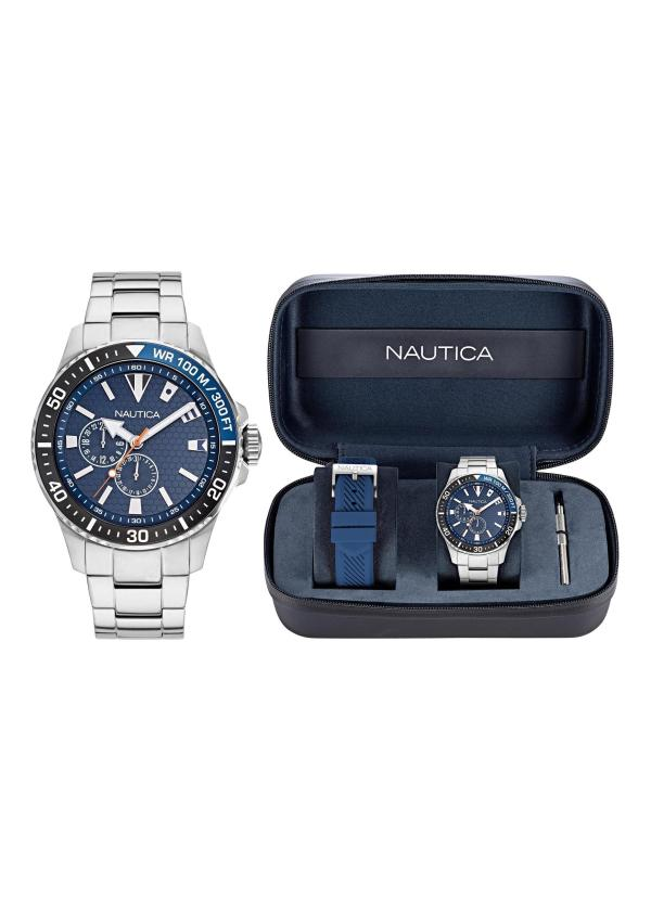 NAUTICA Gents Wrist Watch Model FREEBOARD Special Pack + Extra Strap NAPFRB928