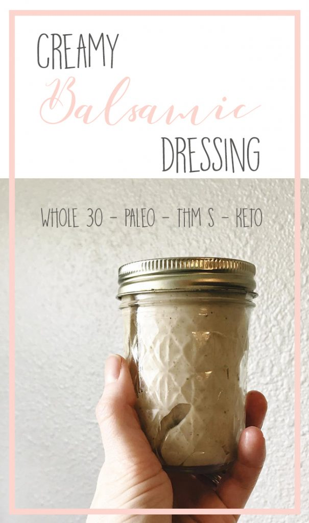 This creamy balsamic vinaigrette is a richer option for those that want a healthy salad, but don't want to resort to a spritz of oil on their lettuce. There's no need to sacrifice flavor when you choose to eat healthy, and this dressing proves it! Read on for the full recipe. #paleo #whole30 #thm #keto