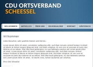 Willkommensbildschirm der Scheeßeler Union am 26.01.2011