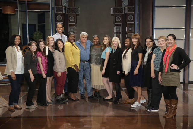 "The ""Reporting on Entertainment and Pop Culture"" class with Jay Leno on the set of ""The Tonight Show"""