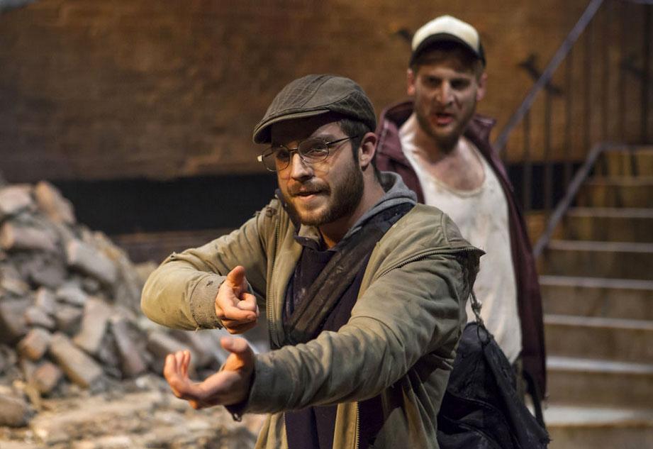 Tom Palmer as Vladimir and Tom Stourton as Estragon. Photo courtesy Arcola Theatre