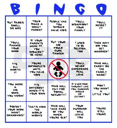 Child-Free Bingo card - by Carlos Castillo via his Flickr, and used under a Creative Commons Attribution-ShareAlike license