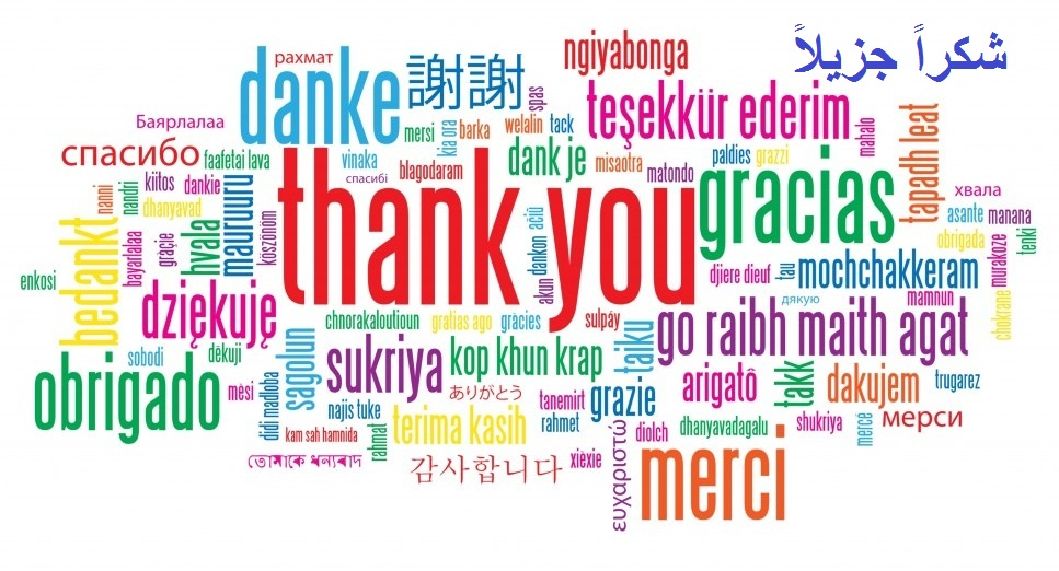 A word cloud of the different languages saying 'thank you'.