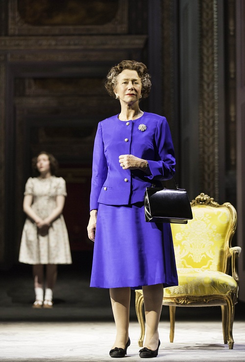 Bebe Cave as Young Elizabeth and Helen Mirren as Queen Elizabeth II. Photo by Johan Persson, courtesy National Theatre