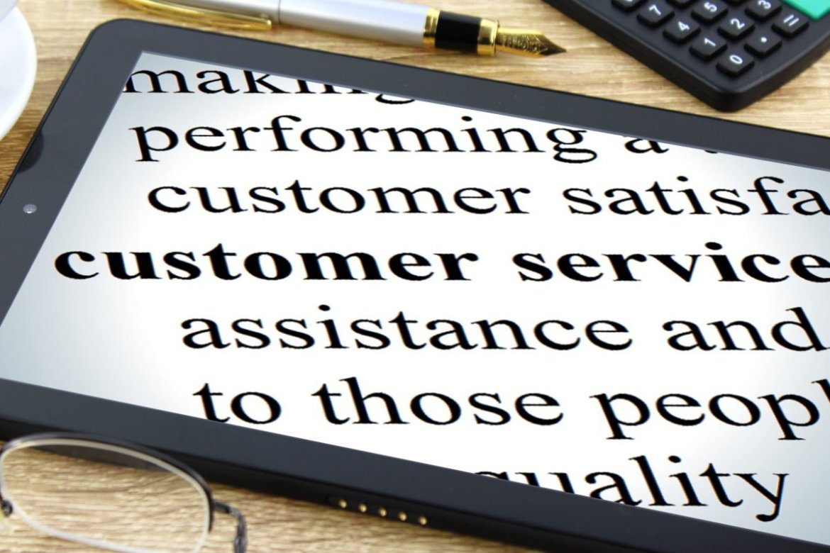 Tablet computer showing the words 'customer service'