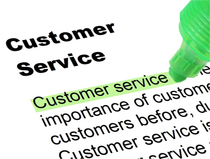 A document with the words 'Customer service' highlighted in green.