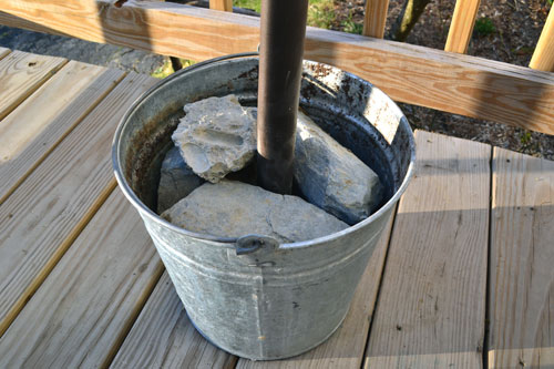 Diy Umbrella Stand Cement Blocks In A Bucket Angie S Roost