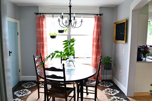 Dining Room With Coral Curtains