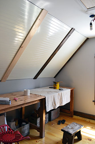 Staining Faux Beams