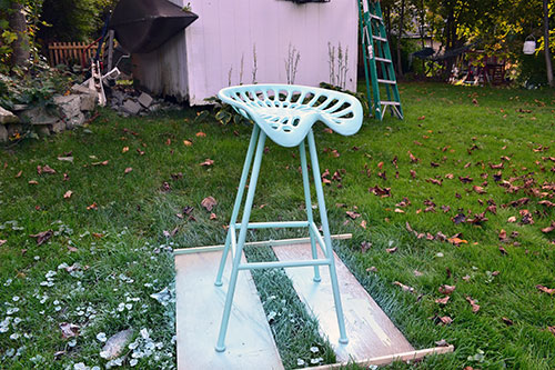 Turquoise Painted Tractor Seat Stool