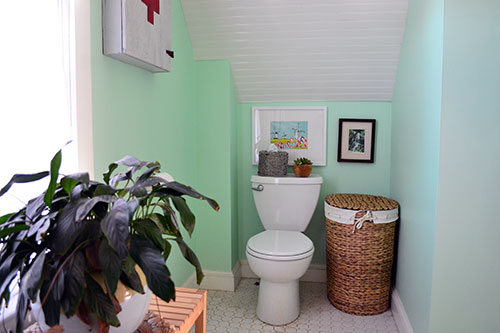 Windmill Print Hanging In Bathroom