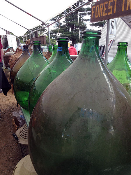 Glass Jugs At Brimfield Antiques Show