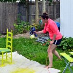 Spray Painting Chairs Lime
