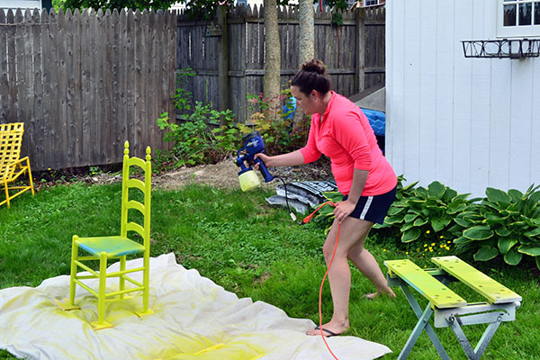 Spray Painting Chairs Lime With Home Right Paint Sprayer