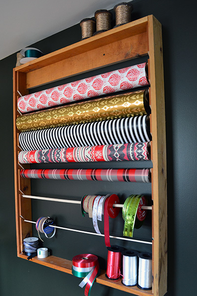 Wrapping Paper Storage Rack Diy From Scrap Wood Angie S