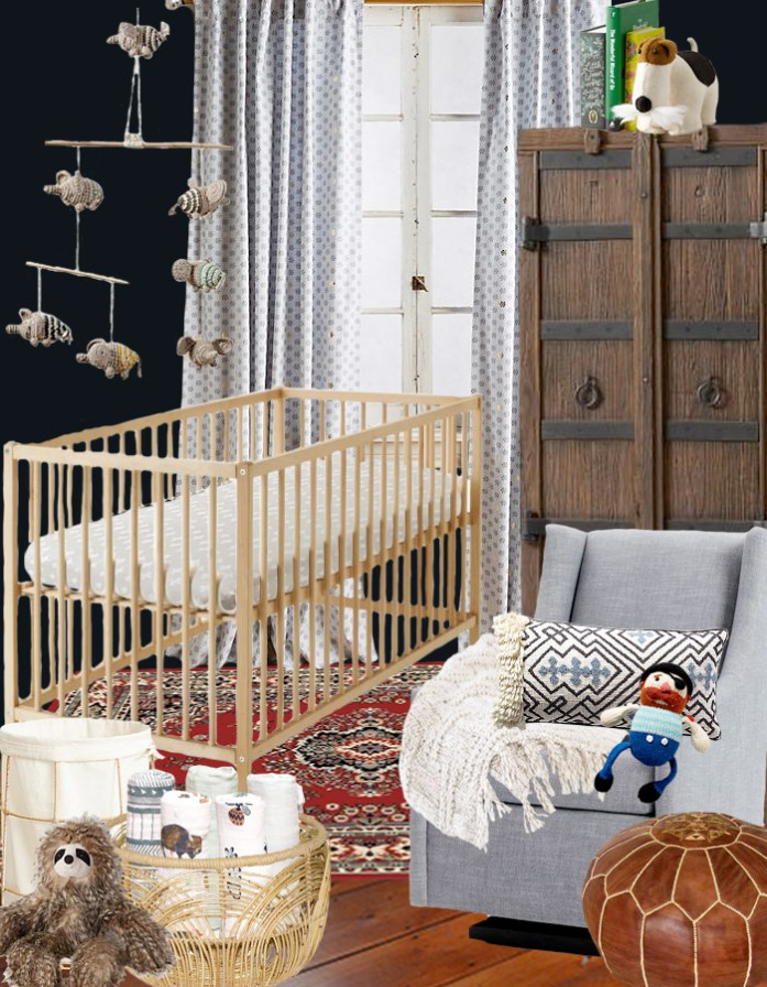 Adding accessories to a gender neutral nursery base for a boy nursery design plan