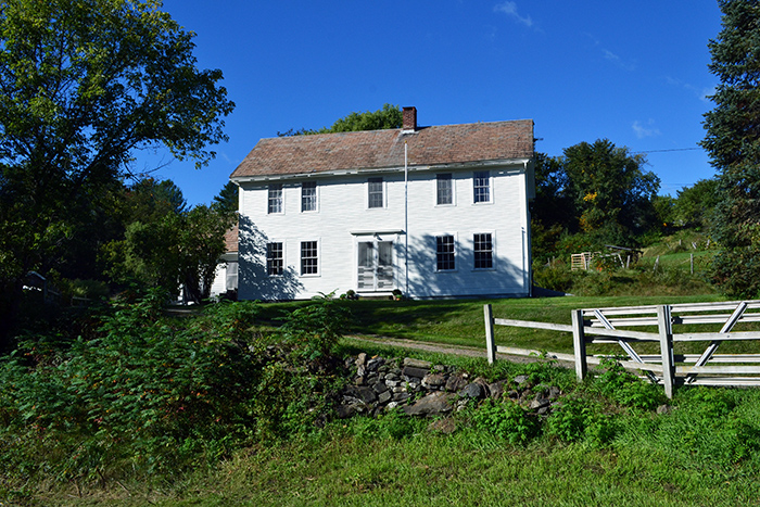 A circa 1781 white colonial farmhouse in Vermont