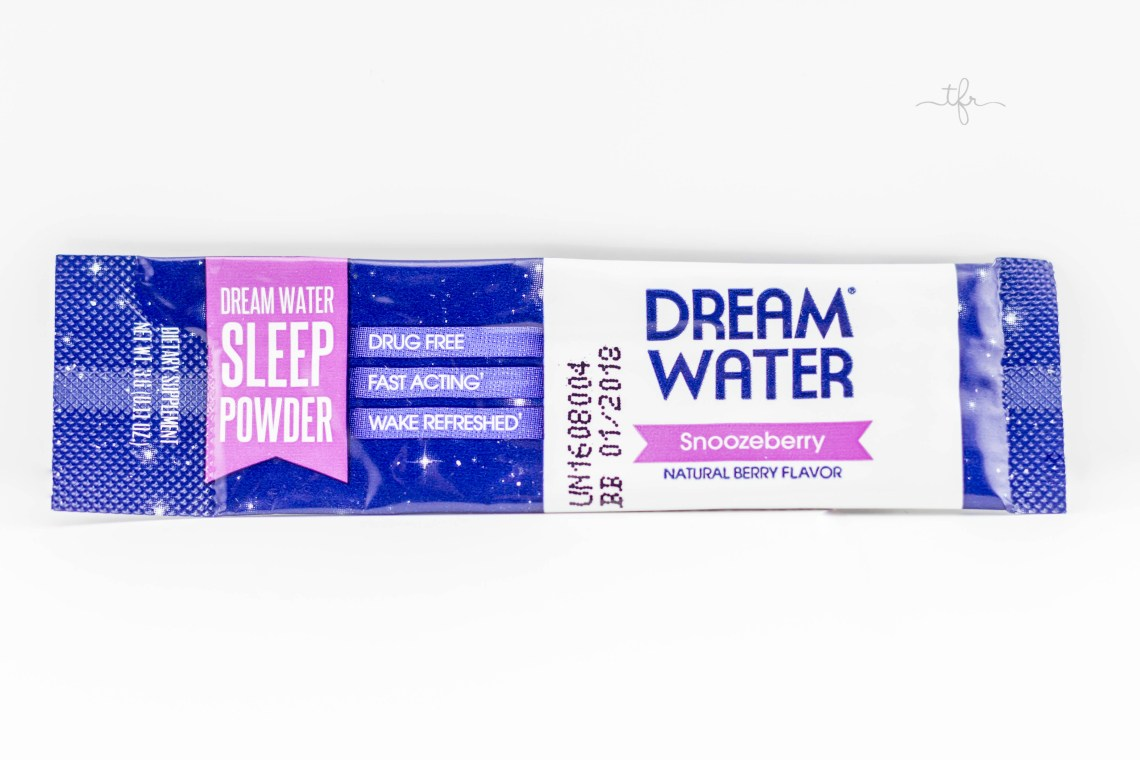 Dream Water Sleep Powder in Snoozeberry (10 powder sticks) $14.99 - This powder contains helpful ingredients that will let you enjoy a great nights sleep. The GABA it contains can help reduce anxiety and aid in relaxation. The melatonin it contains can help regulate your internal clock as well as your sleep cycle. The 5-HTP can improve the quality of sleep by stimulating the production of melatonin. All you do is add this to water 30 minutes prior to when you want to fall asleep. Carry a pack with you when you are traveling on a plane or train, or even when you are in an unfamiliar hotel. They also sell sleep shots and travel bundles!