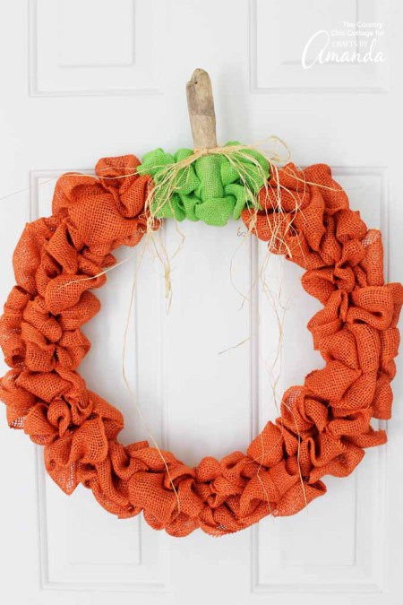 Burlap Pumpkin Wreath | Crafts By Amanda