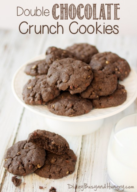 Double Chocolate Crunch Cookies | Dizzy Busy and Hungry