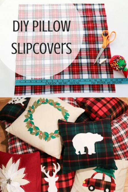 Winter Holiday Pillow Slipcovers Tutorial   Simply September